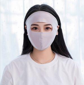 Женщины лето лед шелк тонкий солнцезащитный крем полный маска для лица УФ-защита дышащий Велоспорт сплошной цвет моющиеся ушная раковина респиратор крышка 6 цветов
