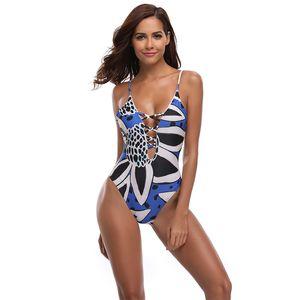 Fashion-New Sexy Blue Print Badeanzug Frauen One Piece Suit Deep V Bademode S-XL Mädchen Hohl Riemchen Badeanzug Backless Gepolsterte Monokini