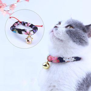 Pet Aksesuar Japon Stili Kedi Bell Anti-kayıp Yaka 4 Boyut Ayarlanabilir Çok Renkler El yapımı Yumuşak Kumaş Kedi Köpek Yaka DH0551 T03