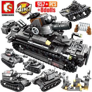 Bâtiment Ville WW2 Chariot série de blocs Sembo Army Tank militaire Soldat Figures Briques Technic Jouets pour les enfants
