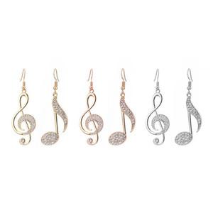 Personalidad caliente Música geométrica Símbolo de sueño Pendientes colgantes Notas musicales Gancho de oreja asimétrico Cristal Pendientes de color plateado para mujeres
