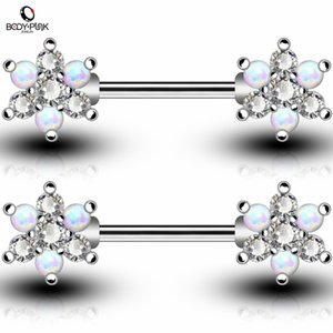 wholesale Body Piercing Jewelry Rose Gold Silver Bar With White Blue Synthetic Opal Clear CZ Flower Shape Nipple Rings For Women