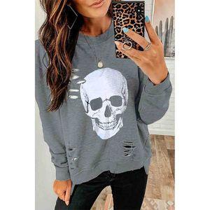 Women Halloween Skull Autumn Hole Hoodies 2020 Streetwear Fashion Casual Love Print Long Sleeve Girls Pullover Loose Sweatshirt
