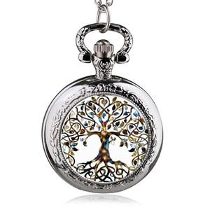 Mode-Silber-Edelstahl Baum des Lebens Kette Luminous Taschen-Uhr-Halsketten-Frauen Schmuck glühender Anhänger Kette
