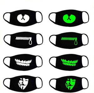 Открытый Симпатичные Mouth Anti-Dust Спорт Luminous черная маска Теплый черный хлопок Велоспорт маски партии маски высокого качества Хэллоуин