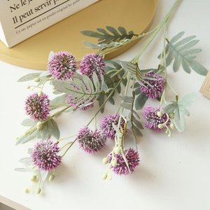 9Heads haste longa Bola Flor Dandelion ramo plástico flores artificiais com falsos Folhas Jardim decoração com flores Plantas