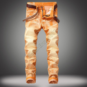 موضة جديدة نمط أزياء الرجال الجينز عالية الجودة اللون نحيل صالح تقسم انفجرت الجينز شارع العليا دمرت السائق الرجال Mt09