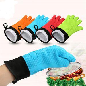 Hitzebeständige Kochen Handschuhe Silikon Grilling Handschuhe Lange Wasserdicht BBQ Küche Ofen Mitts mit Inner Baumwollschicht JK2005