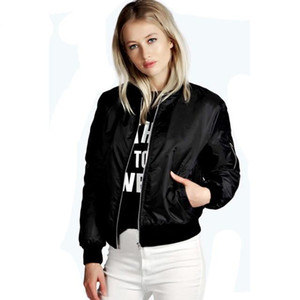 European Style Womens Retro Long Sleeve O-Neck Short Zipper Slim Bomber Jacket Casual Coat Denim Short Pilot Basic Jackets Slim