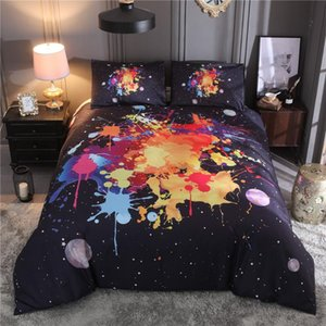 Black Bedding Set Ink Splashing Printed Duvet Cover Pillowcases Twin Queen King Size Bed Linen Cover Home Textile jogo de cama