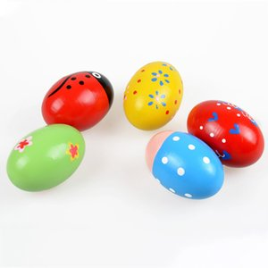 Exquisite Wood Sand Egg Baby Educational Wooden Ball Toy Musical Maracas Shaker percussion Instrument Cute Toddler Toy Cartoon Color Pattern