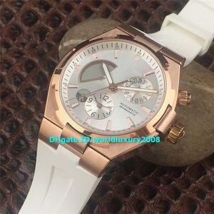 Designer Swiss OVERSEA Rose Gold Automatische Herrenuhr Braunes Zifferblatt Saphirglas Kautschukarmband Leuchtende Armbanduhr 41mm 5 Farben