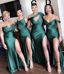 저렴한 들러리 드레스 다른 네클라인 2020 섹시한 셔링 하이 사이드 분할 긴 댄스 파티 드레스 메이드 명예 가운 짙은 녹색의 최신