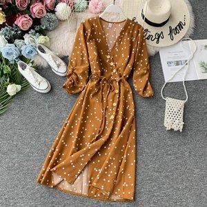 New Spring Autumn Women Beach Dress Fashion V Neck 3 4 Sleeve Bandage Dot Printed Long Robe Elegant Ladies Causal Clothes-a