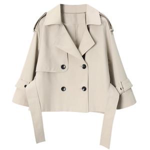 ربيع الخريف المرأة ذات جودة عالية مزدوجة الصدر سترة واقية قصيرة التعادل المؤنث معطفا مزاجه معطف سترة خندق الص