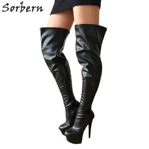 15cm Ultra High Heels Stivali Donne piattaforma spessa personalizzata 80cm Lunghezza del pozzo della biforcazione alta Feticismo Heel Runway Boot