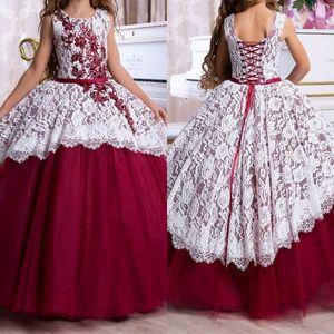 2020 bei capretti del fiore del merletto formale Girl Dress spettacolo formale Comunione partito di Prom Princess Girl Dress