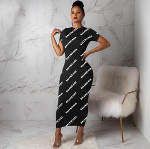 Zu verkaufen Brief Drucken Schlank Maxi Kleid Büro Damen Arbeitskleidung Rundhals langen ärmeln Bleistift Kleid Frauen Bodycon Party Kleid
