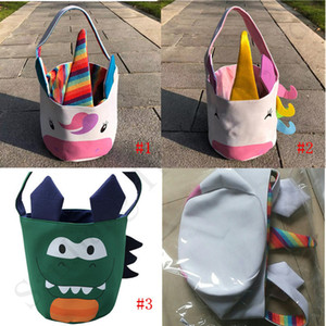 Easter Rabbit Basket Kids Easter Bunny Bags Bucket Pouch Cartoon Dinosaur Unicorn Design Canvas Tote Bag Handbag Egg Kid Candy Baskets E1802