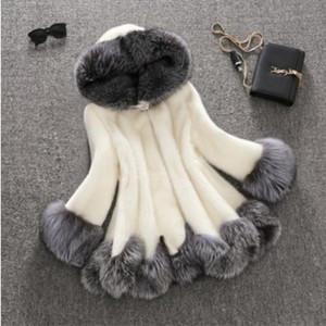 Frauen lange Winterjacke mit Kapuze schlank Abnehmen importiert hohe Fellimitat eine Mähne Pelzmantel Jacke