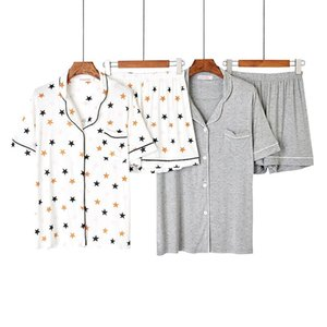 Summer 2020 Loose Pajama Set Women Soft Modal Print 2 Pieces Set Short Sleeve Top + Shorts Elastic Waist Pyjamas Femme Sleepwear