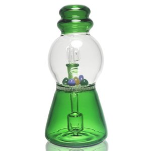 Green water pipe glass bowl glass bong recycling dab rig bubbler honeycomb ash catcher 14mm joint 7.2 high