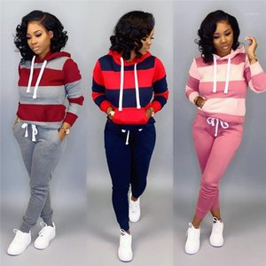 Fashion Running Hooded Suits Casual Contrast Color Striped Print Active Style Women Two Pice Sets Women Designer Tracksuits