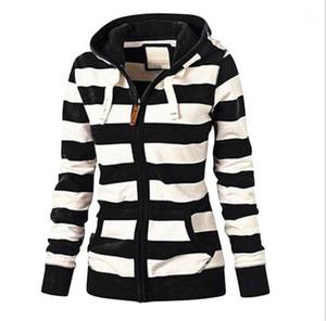 Hoodies Casual manches longues Zipper hoodies mode couleur naturelle hoodies Vêtements pour femmes Femmes Designer à rayures Imprimer
