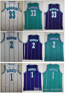 Men BEST-QUALITY embroidery Vintage 1# Tyrone Muggsy Bogues Jersey 2# Larry Johnson Jerseys 33 Alonzo Mourning Jersey Abdur Rahim Mike Bibby