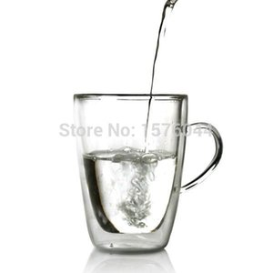 1PC High Qauilty Heat-resistant Double layer wall glass Cups glas handgrip Mugs glassware 300ml beer mug with lid JP 1066
