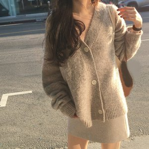 New Winter Women Cardigan Coat Loose Long Sleeve Thick Mohair Sweater Casual Female Solid Knit Sweater Coat