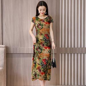 Vestidos Mujer Limited Nouveau O-cou Mi-mollet Robe Longo Vanled Robe Dames À Manches Courtes Col Rond Long Imprimé Slim Y19051001
