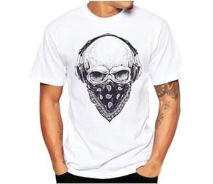 С короткими рукавами хлопчатобумажная футболка с капюшоном наушников череп футболка мужская свободно большого размера Европа и Америка с коротким рукавом