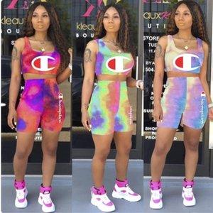 Champion Womens summer outfits 2 pièces femmes set designer femmes vêtements débardeur mode + shorts costumes lettre imprimer costume klw1223