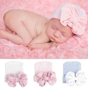 Newborn Baby for Boy Girl Knitted Cap Infant Flower Bowknot Cap Photography Props Winter Warm Turban Hat Accessories