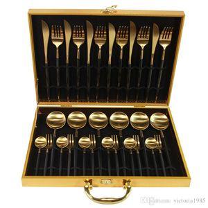 30-Piezas Negro Oro de vajilla de acero inoxidable 18/10 Cena Cuchillo Tenedor de oro blanco Set de cubiertos Rosa Con Caja de regalo