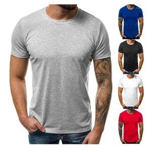 Sólido diseñador para hombre de color de la camiseta casual de cuello redondo flojo Tees Mens respirables de los cortocircuitos de la manga Tops Pure