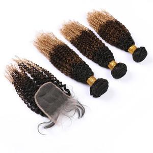 Noir Brown Honey Blonde Ombre Bundles et fermeture à trois Tone 1B 4 27 Ombre malaisiennes Kinkys Curly Tissages cheveux avec dentelle fermeture