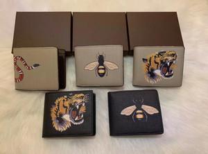 Alta qualidade para os homens animais curto carteira de couro de cobra preto Tiger abelha Carteiras Mulheres Long bolsa estilo de titulares de cartão carteira com caixa de presente