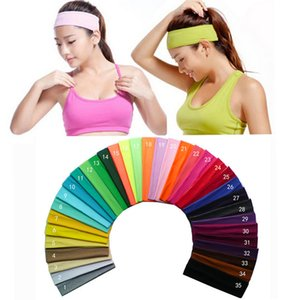 35 different Solid color Cotton Headband Sports Sweatband Hair Band Bandage On Head Turban Bandana Sports Yoga Stretch Elastic for women