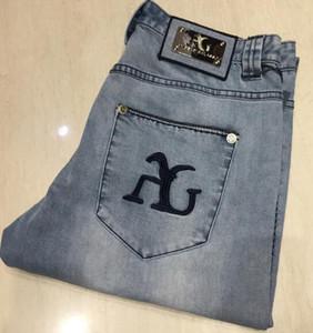 Анг * Эло Гал*как * так джинсы мужские 2019 новая мода мыть отбеливание вышивка синий и белый прилив брюки