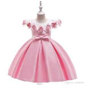 Vestido Crianças Pageant Princesa Flor vestidos de festa prego talão performance de palco vestido Borde Costume Beauty Rose 3Y 4Y 5Y 6Y 7Y 8Y 9Y