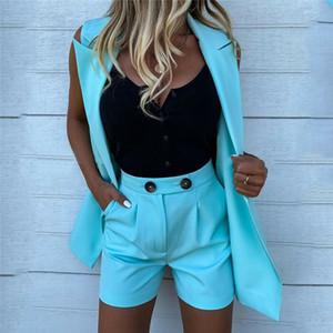 Moda Kadınlar Tasarımcı İki Adet Setleri Eşofman Rahat Sıska Giyim Setleri Bayanlar Yelek Şort 2 ADET Setleri