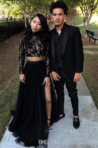 2019 Dos piezas Vestidos de baile negros Manga larga Tul Encaje Apliques Barrido Tren Cremallera Volver Vestidos de fiesta Vestidos Vestidos de noche PROM DRESSES
