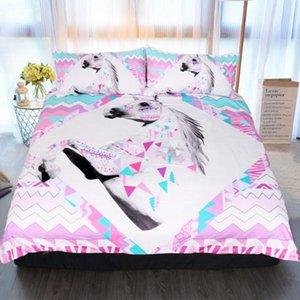BEST.WENSDc01 Quality Super soft Unicorn Bedding Cartoon Duvet Cover set 3D Dinosaur World bed set 2 3pcs Twin kids bedding