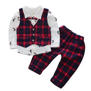 Set di vestiti per bambini Kid Boy Party Body Toddler Bow Gentleman Autumn pcs Clothes Set lattice Formal Suit 3