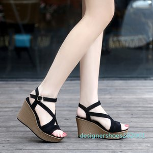 Hot Sale-2019 summer new fairy high heel fish mouth thick bottom wild cross with wedge sandals d01 d01