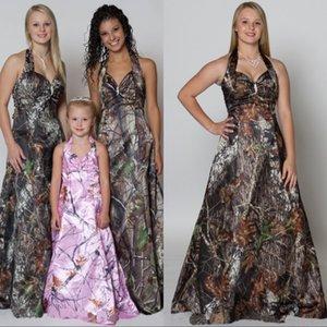 Vestidos de dama de honor de camuflaje 2020 Vestidos de noche sin mangas sin mangas Vintage Forest Longitud del piso formal Vestido de honor de dama de honor para mujeres