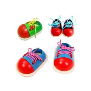 Kinder DIY Lernen Bildung Mode Kleinkind Schnürsystem Schuhe Montessori Kinder Holz Kinderspielzeug
