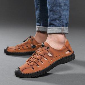 Sandali in pelle LEOSOXS Mens 2020 scarpe estive Man all'aperto respirabile morbido fatto a mano Calzatura uomo Sandali Camminare casuale 38 - 48